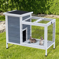 "PawHut 36"" Raised Outdoor Weatherproof Wooden Rabbit Hutch Bunny Cage - Mia's Pet Supply"