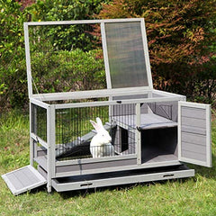 "Aivituvin Rabbit Hutch Indoor and Outdoor [Upgrade Version] 39.7"" Bunny Cage - Mia's Pet Supply"