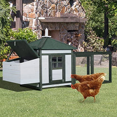 "PawHut 77"" Wooden Weatherproof Backyard Chicken Coop Kit - Mia's Pet Supply"