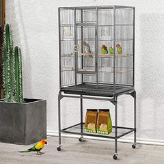 Topeakmart 53.7-inch Bird Cage with Stand Wrought Iron Construction - Mia's Pet Supply