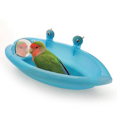 Bird Bathtub With Mirror Toy And Food Feeder Bowl For Parrot Parakeet Cockatiel Finch Canary African Grey Cockatoo - Mia's Pet Supply