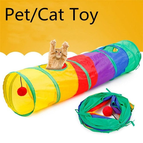 Long 115CM Pet Cat Play Tunnel Toy with Hanging - Mia's Pet Supply