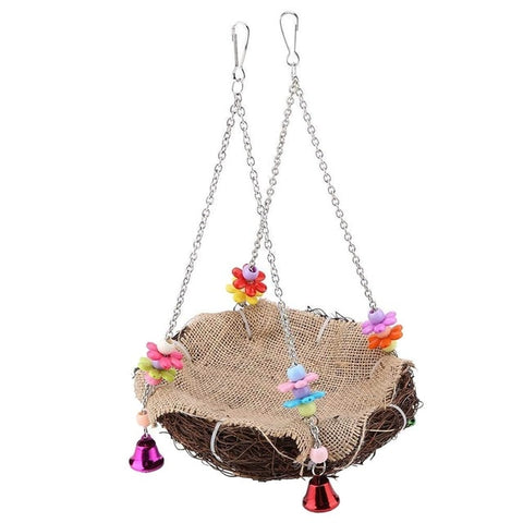 Rattan Bird Nest Bird Perch With Hanging Chains And Bells - Mia's Pet Supply