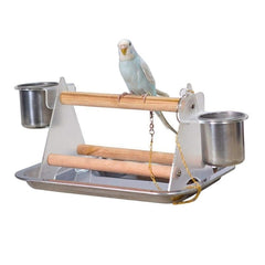 Small Medium Parrot Bird Perch Table Top Acrylic Stand With 2 Feeding Cups For Water And Food - Mia's Pet Supply