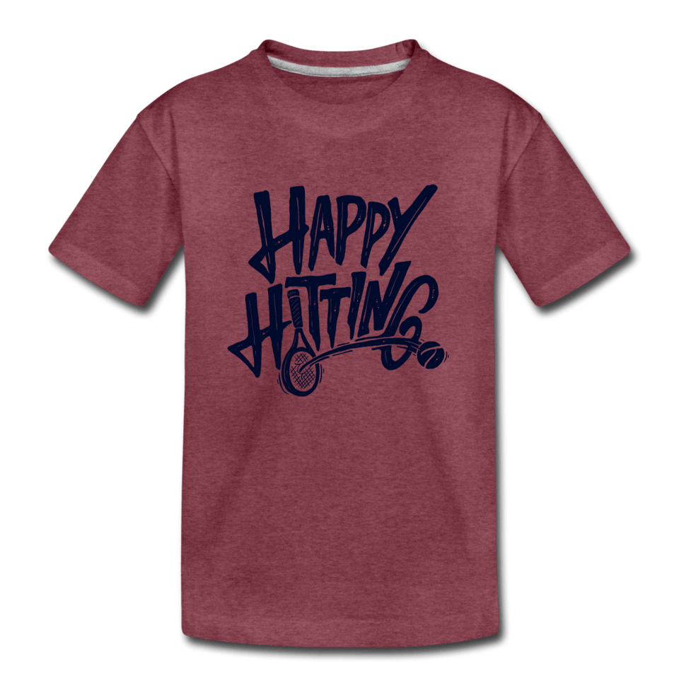 Youth Happy Hitting Tee - heather burgundy