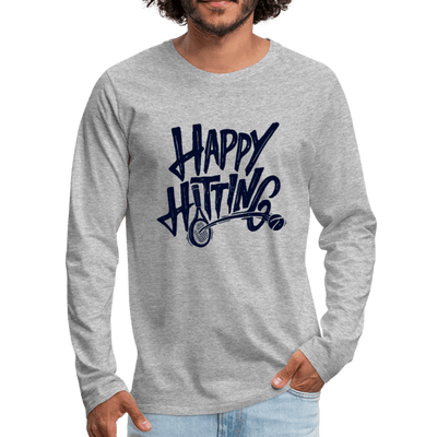 Men's Happy Hitting Premium Long Sleeve - heather gray