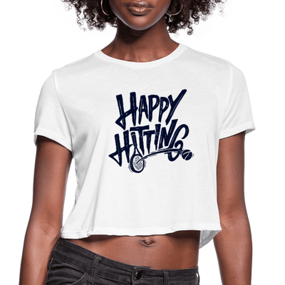 Happy Hitting Women's Cropped Tee - white