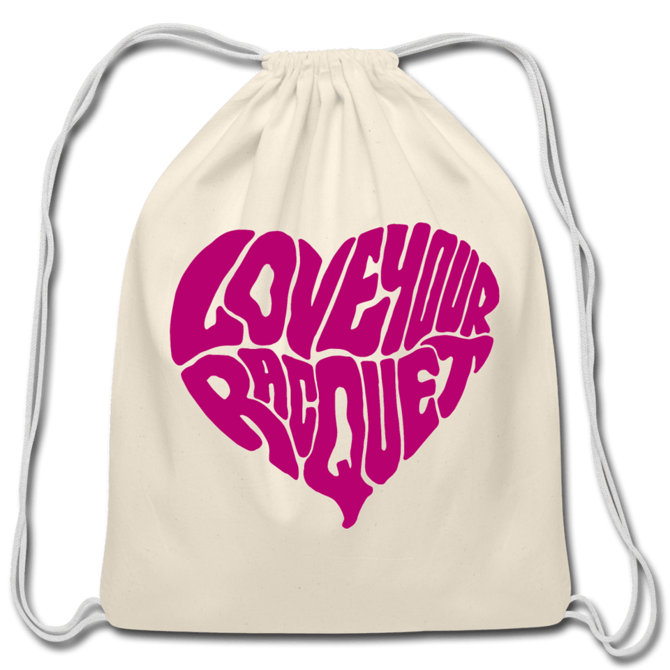 Love Your Racquet Cotton Drawstring Bag - natural