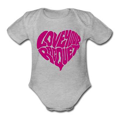 Love Your Racquet Organic Short Sleeve Baby Bodysuit - heather gray