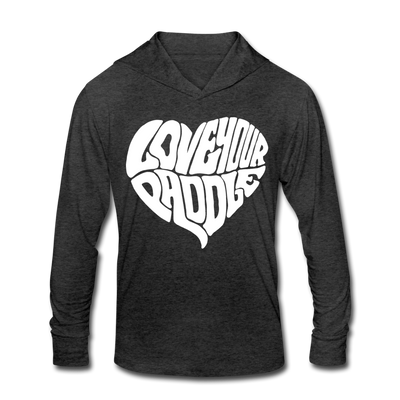 Love Your Paddle Unisex Tri-Blend Hoodie Shirt - heather black