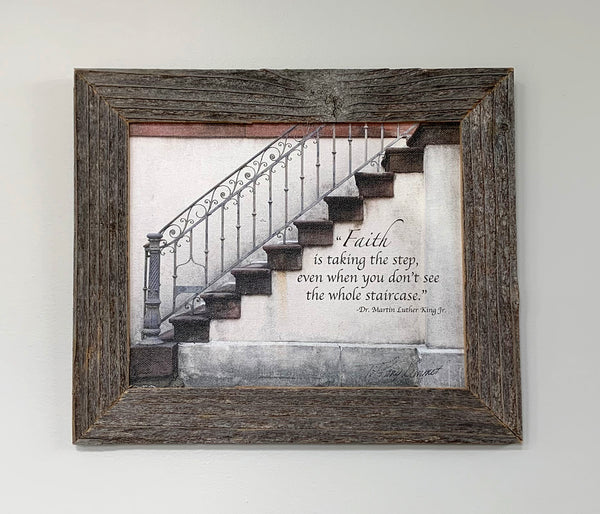 Faith Stairway - Canvas Framed in Barn Wood