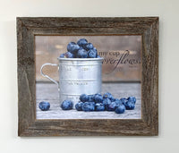 Cup of Blueberries - Canvas Framed in Barn Wood
