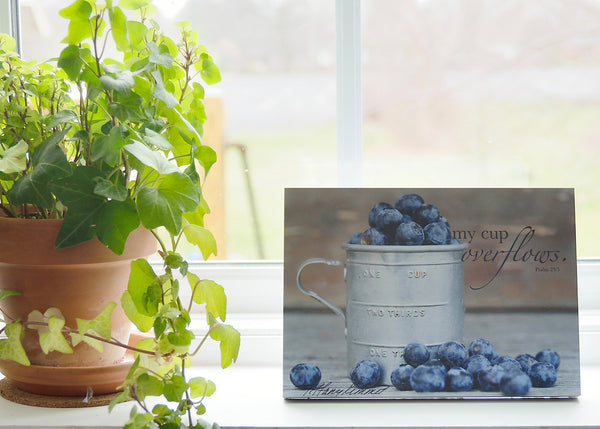 Cup of Blueberries - Ready to Hang Plaque
