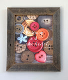 Buttons - Canvas Framed in Barn Wood