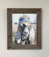 Maggie - Goat with Hat- Canvas Framed in Barn Wood