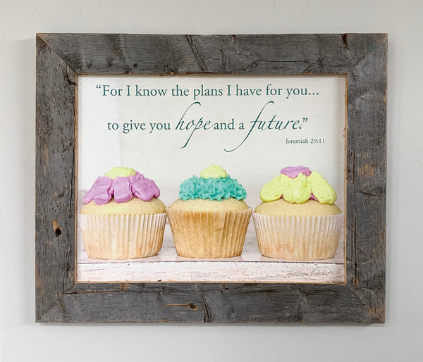 Cupcakes - Canvas Framed in Barn Wood
