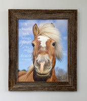 Joyful Horse - Canvas Framed in Barn Wood