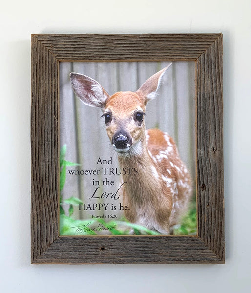 Hope the Deer - Canvas Framed in Barn Wood