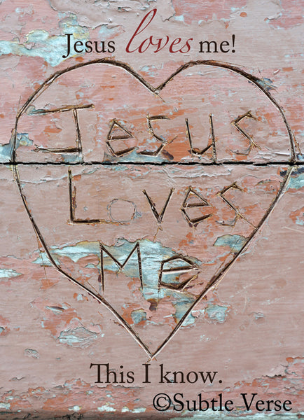 Jesus Loves Me - Canvas Framed in Barn Wood