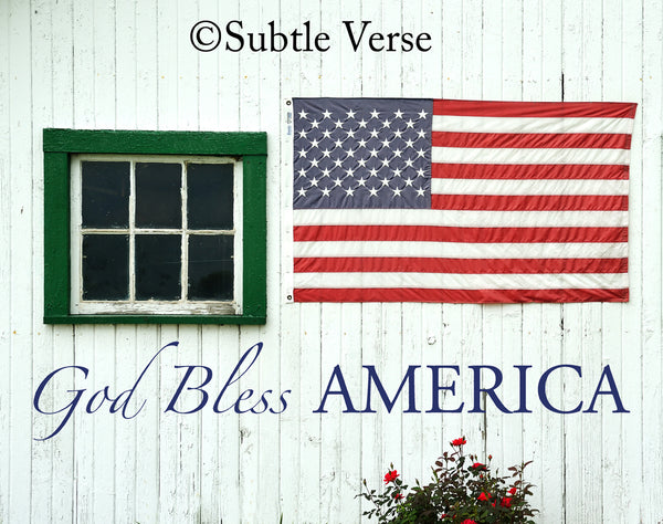 God Bless America - Canvas Framed in Barn Wood