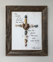 Cross - Canvas Framed in Barn Wood