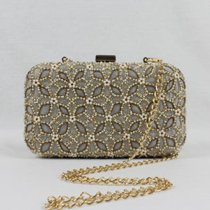 embroidered clutch bag for indian wedding with shoulder chain