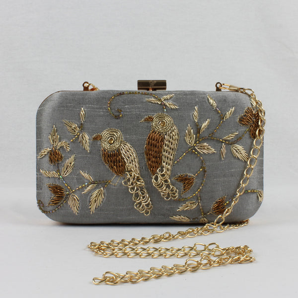 grey clutch bag with shoulder chain