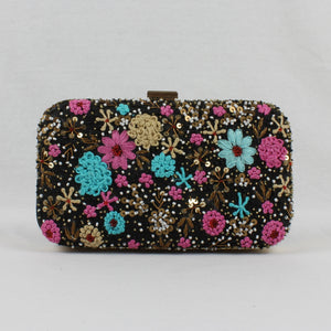 black clutch with hand embroidered flowers