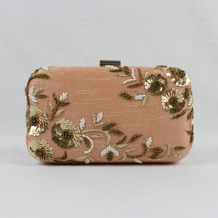 nude pink clutch bag with floral gold embroidery
