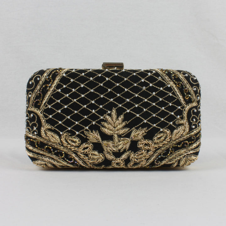 black clutch bag with gold embroidery for indian weddings