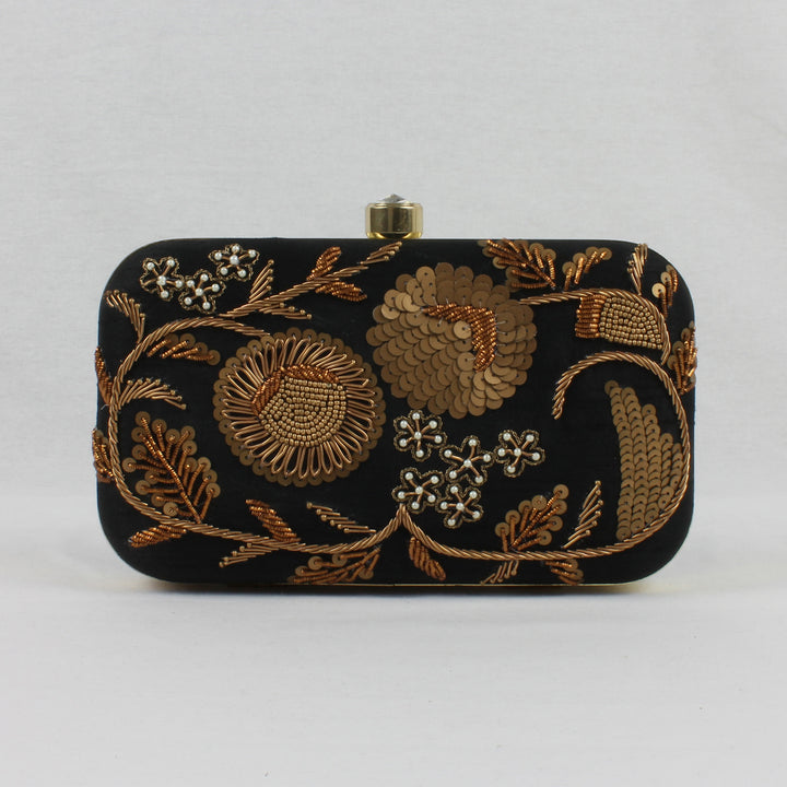 black clutch with bronze floral embroidery