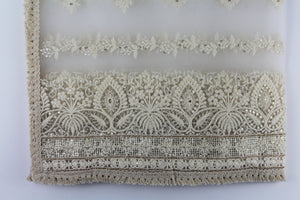 white threadwork dupatta