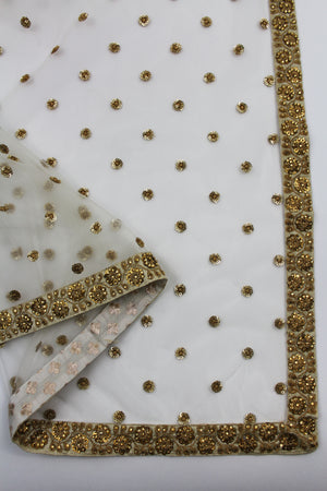 white dupatta with embroidery