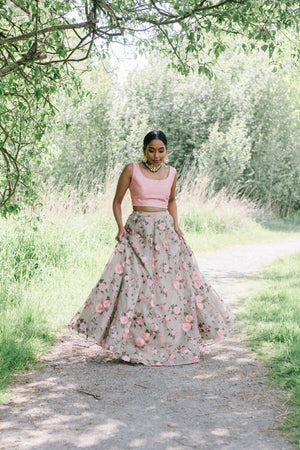 blush pink lehenga with allover floral details