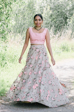 grey organza skirt with pink flower details