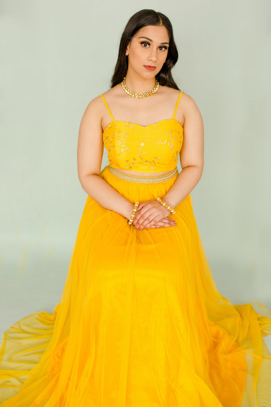 yellow bralette for indian wedding