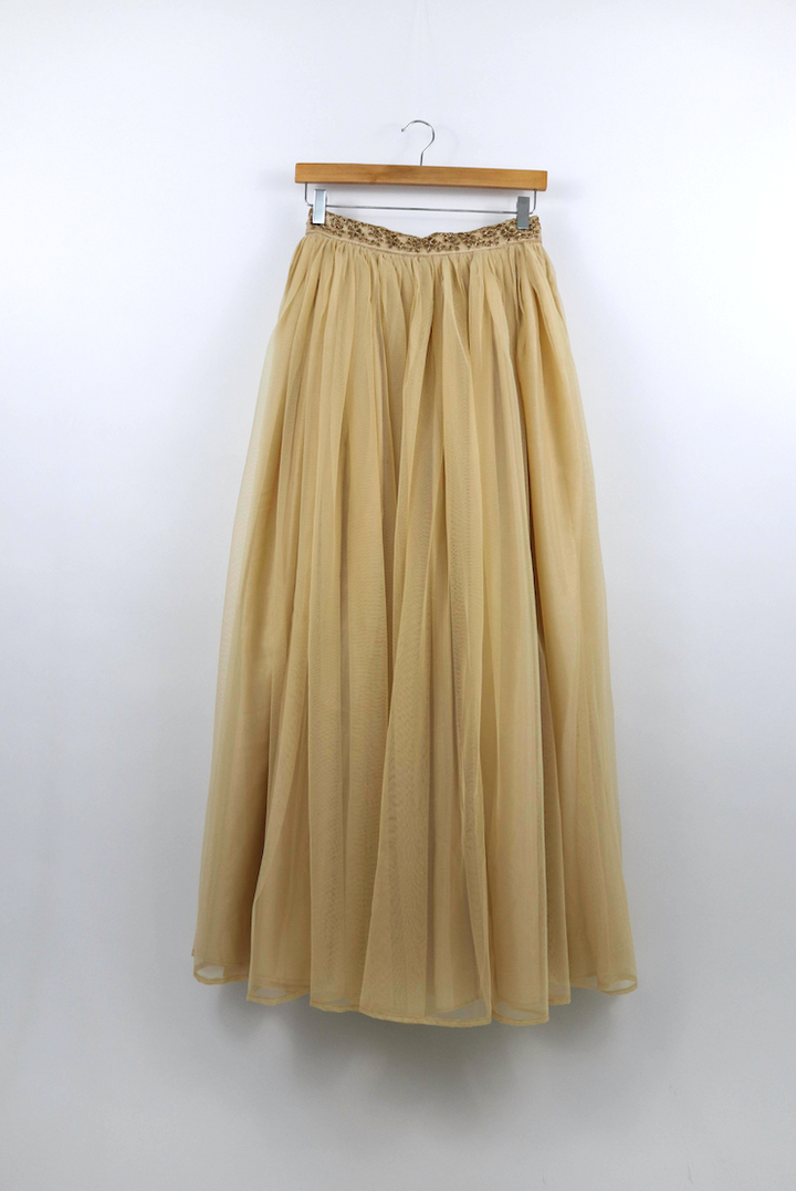 Cream Net Skirt (With Waist Border)
