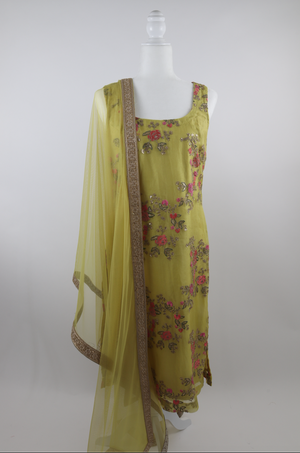 Yellow Organza Pajami Suit