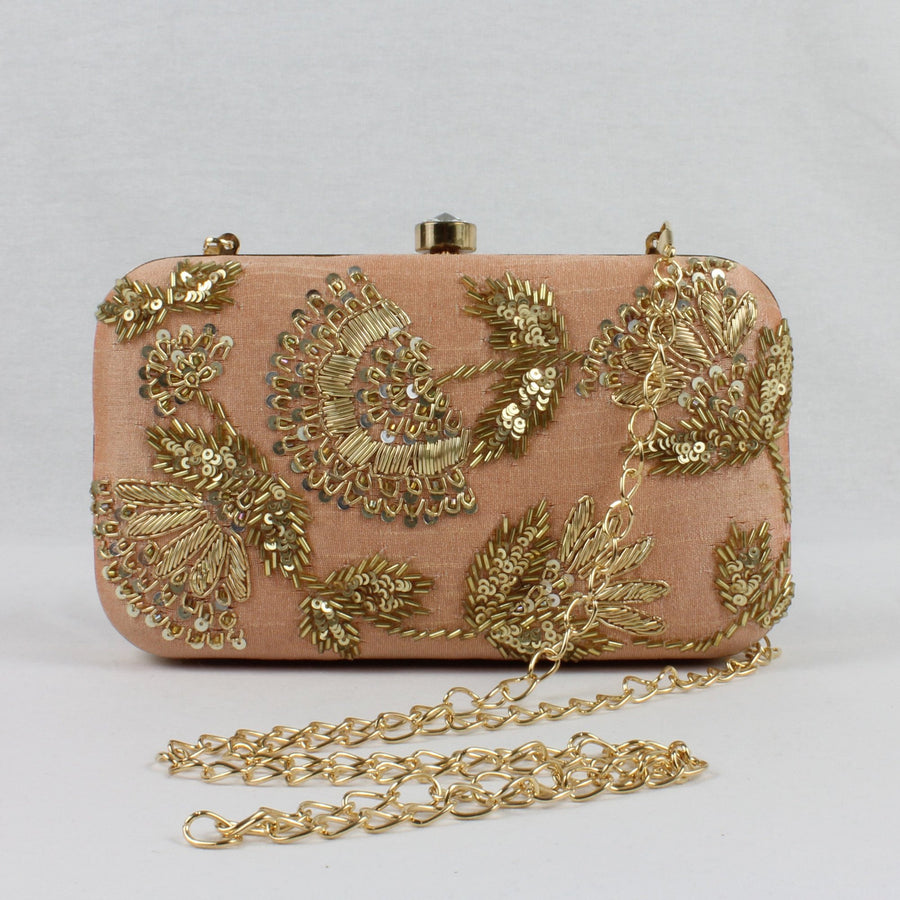 nude peach clutch with shoulder chain