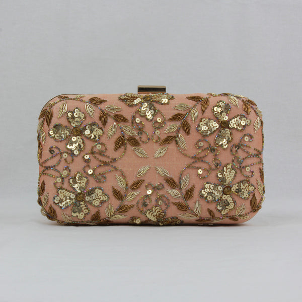 nude peach clutch with zari embroidery