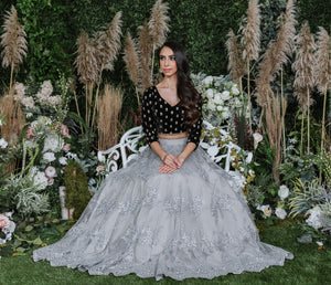modern grey net tulle skirt with lace embroidery
