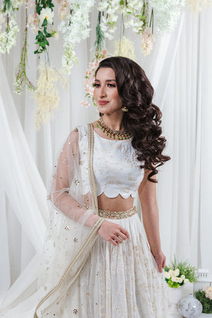 white net dupatta with gold embroidery