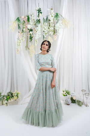 mint green lehenga with tulle and ruffle