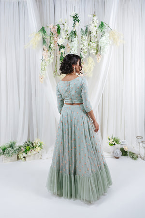 blush green lehenga for indian wedding