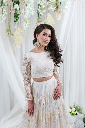 white floral lace long sleeve top for indian weddings
