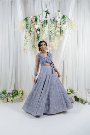 lucknowi embroidery on blue lehenga with sequin details and tulle