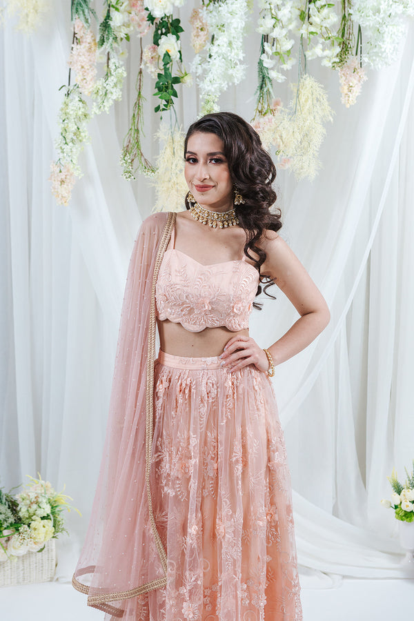 pink lace embroidered lehenga with bead detailing