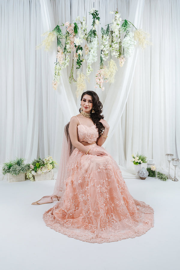 modern bridal lehenga set pastel colour