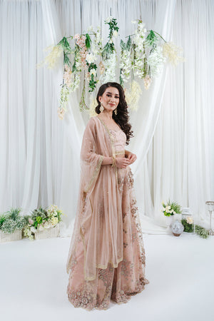 blush pink dupatta with gold sequins