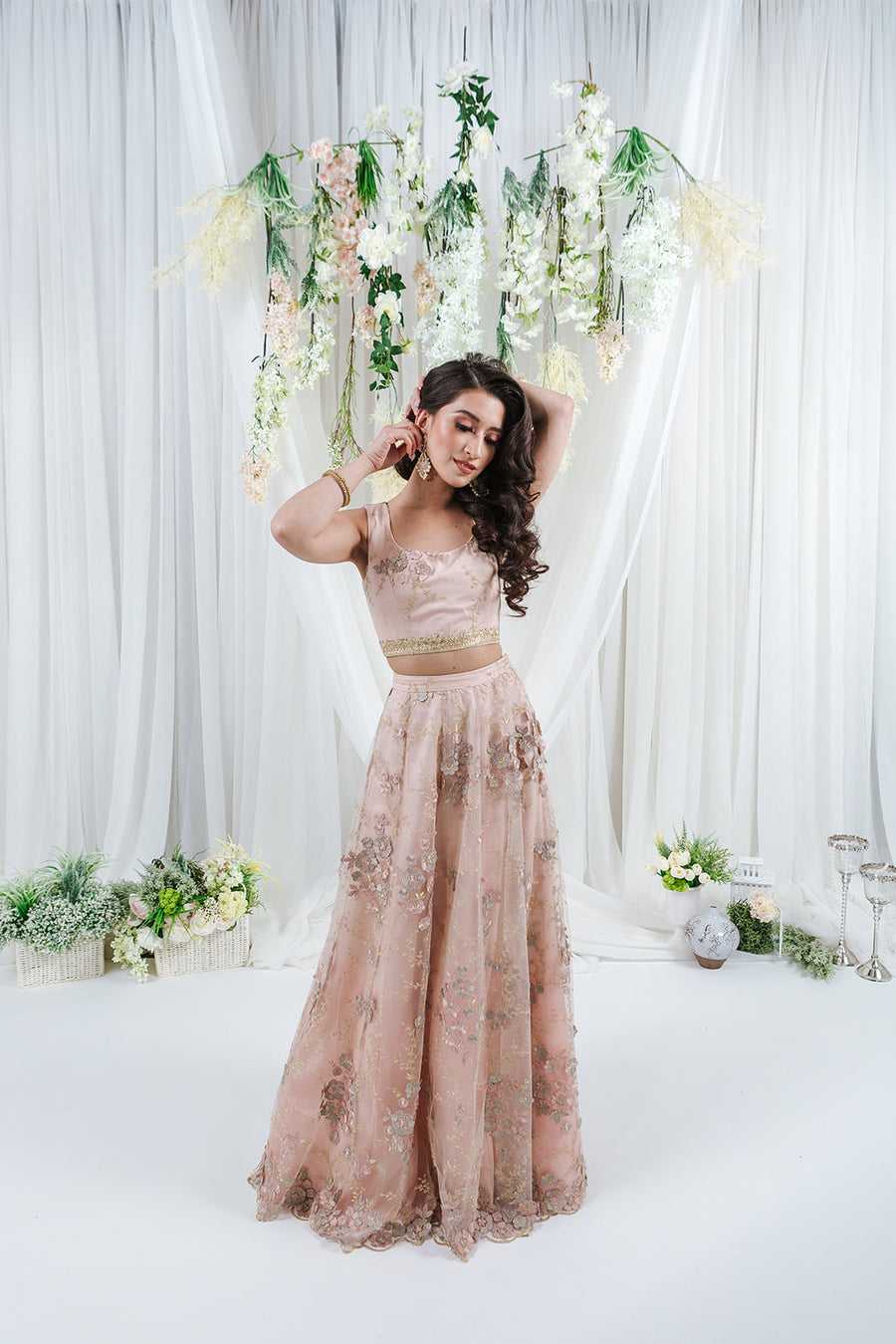 blush pink net skirt with flower details